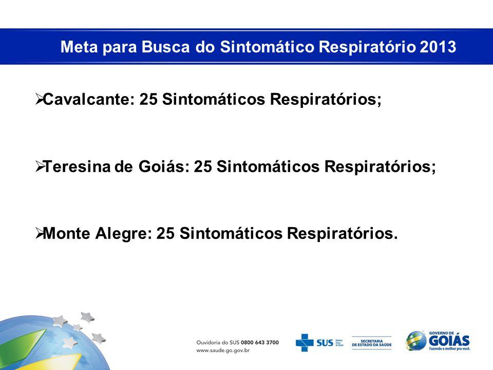 Meta para Busca do Sintomático Respiratório 2013 Cavalcante: 25 Sintomáticos Respiratórios; Teresina de Goiás: 25 Sintomáticos Respiratórios; Monte Al