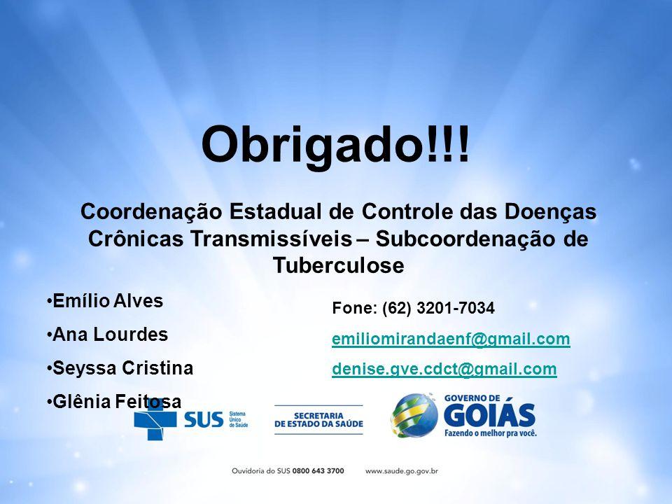 Obrigado!!! Coordenação Estadual de Controle das Doenças Crônicas Transmissíveis – Subcoordenação de Tuberculose Emílio Alves Ana Lourdes Seyssa Crist
