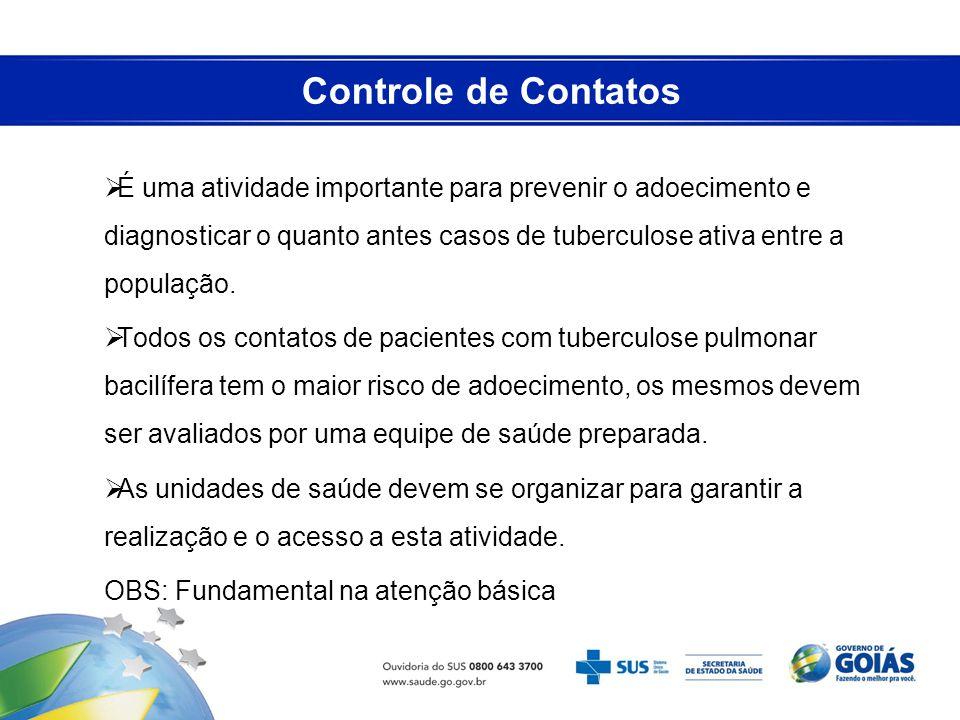 Controle de Contatos É uma atividade importante para prevenir o adoecimento e diagnosticar o quanto antes casos de tuberculose ativa entre a população
