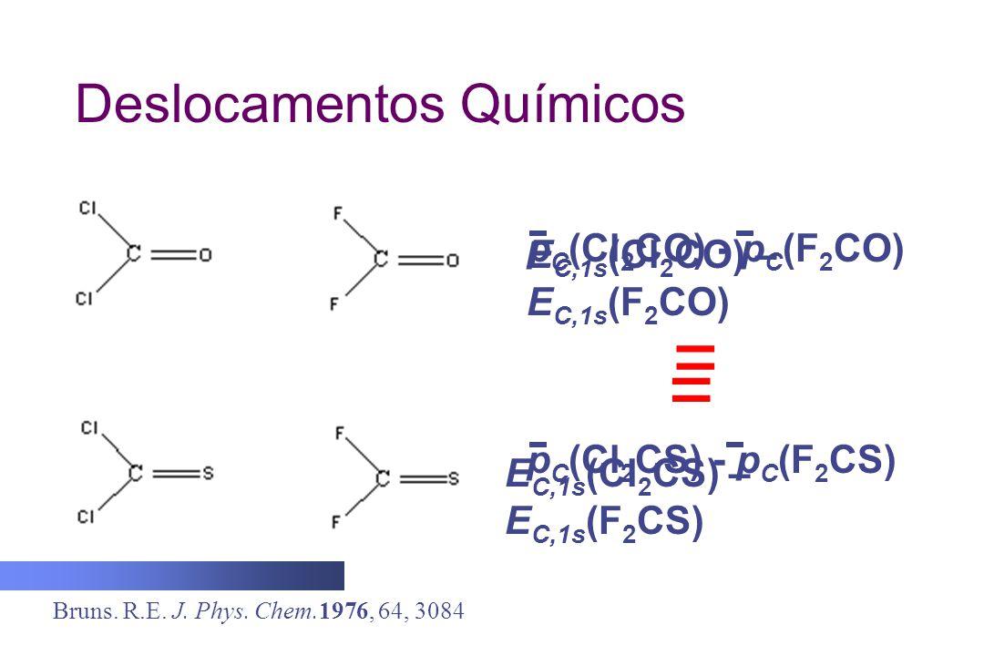 Deslocamentos Químicos = p C (Cl 2 CO) - p C (F 2 CO) p C (Cl 2 CS) - p C (F 2 CS) Bruns. R.E. J. Phys. Chem.1976, 64, 3084 E C,1s (Cl 2 CO) – E C,1s