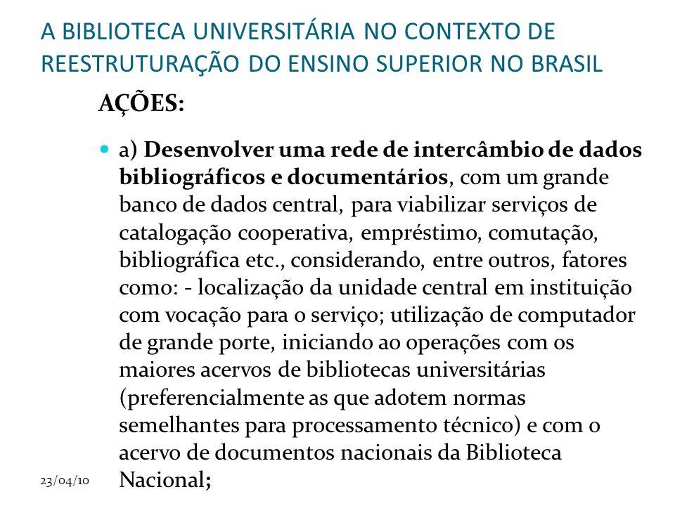 23/04/10 A BIBLIOTECA UNIVERSITÁRIA NO CONTEXTO DE REESTRUTURAÇÃO DO ENSINO SUPERIOR NO BRASIL AÇÕES: a) Desenvolver uma rede de intercâmbio de dados