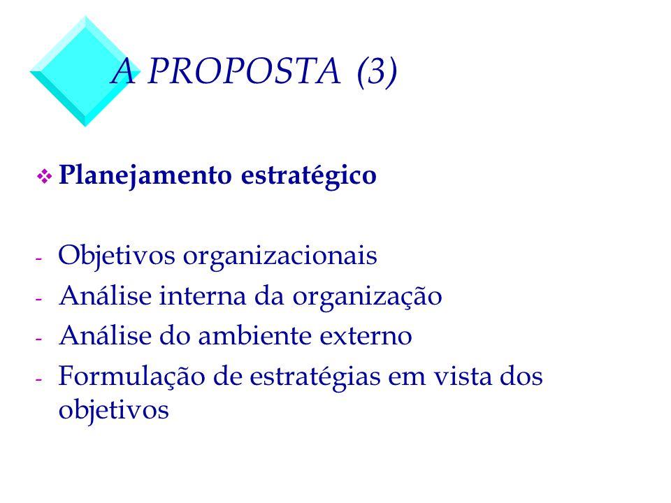 A PROPOSTA (3) v Planejamento estratégico - Objetivos organizacionais - Análise interna da organização - Análise do ambiente externo - Formulação de e