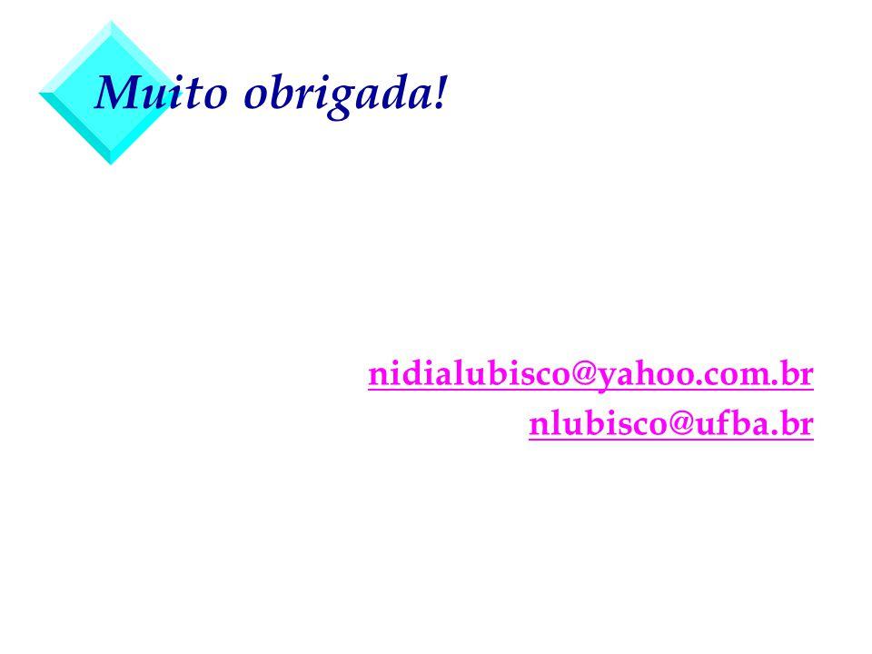 Muito obrigada! nidialubisco@yahoo.com.br nlubisco@ufba.br