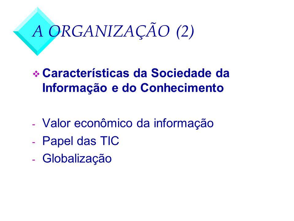 A ORGANIZAÇÃO (3) v Desafios da biblioteca universitária - Gestão da informação digital - Adaptação dos serviços tradicionais - Direito do autor - Direito do cidadão de acesso à informação biblioteca híbrida