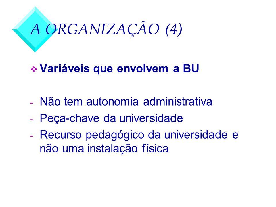 A ORGANIZAÇÃO (4) v Variáveis que envolvem a BU - Não tem autonomia administrativa - Peça-chave da universidade - Recurso pedagógico da universidade e