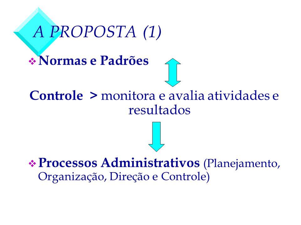 A PROPOSTA (1) v Normas e Padrões Controle > monitora e avalia atividades e resultados v Processos Administrativos (Planejamento, Organização, Direção
