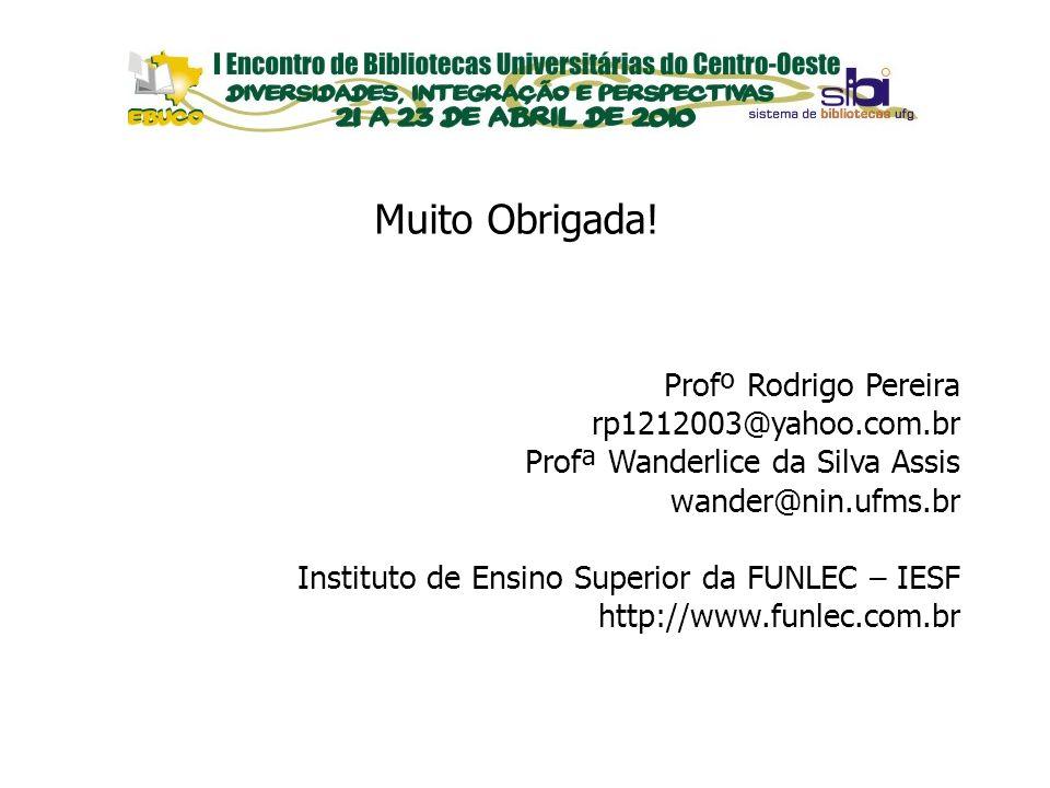 EVENTOS Muito Obrigada! Profº Rodrigo Pereira rp1212003@yahoo.com.br Profª Wanderlice da Silva Assis wander@nin.ufms.br Instituto de Ensino Superior d