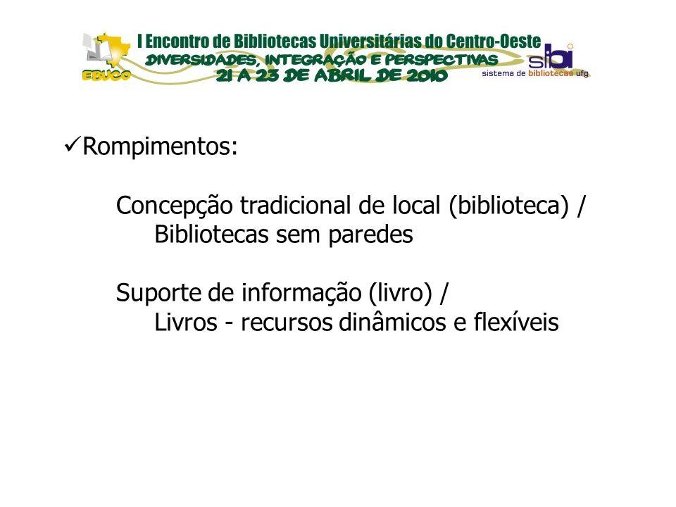 EVENTOS Rompimentos: Concepção tradicional de local (biblioteca) / Bibliotecas sem paredes Suporte de informação (livro) / Livros - recursos dinâmicos