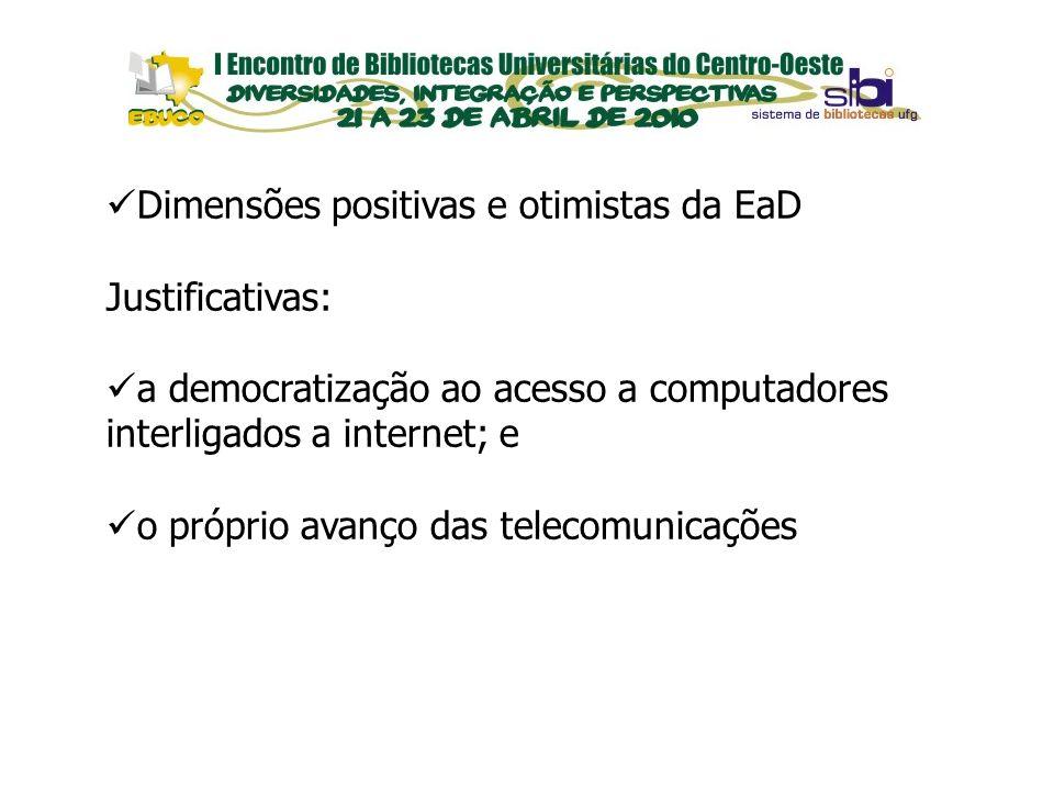 EVENTOS Dimensões positivas e otimistas da EaD Justificativas: a democratização ao acesso a computadores interligados a internet; e o próprio avanço d