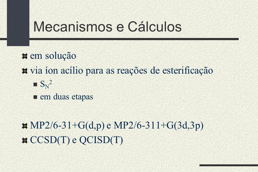 Mecanismos e Cálculos em solução via íon acílio para as reações de esterificação S N 2 em duas etapas MP2/6-31+G(d,p) e MP2/6-311+G(3d,3p) CCSD(T) e Q