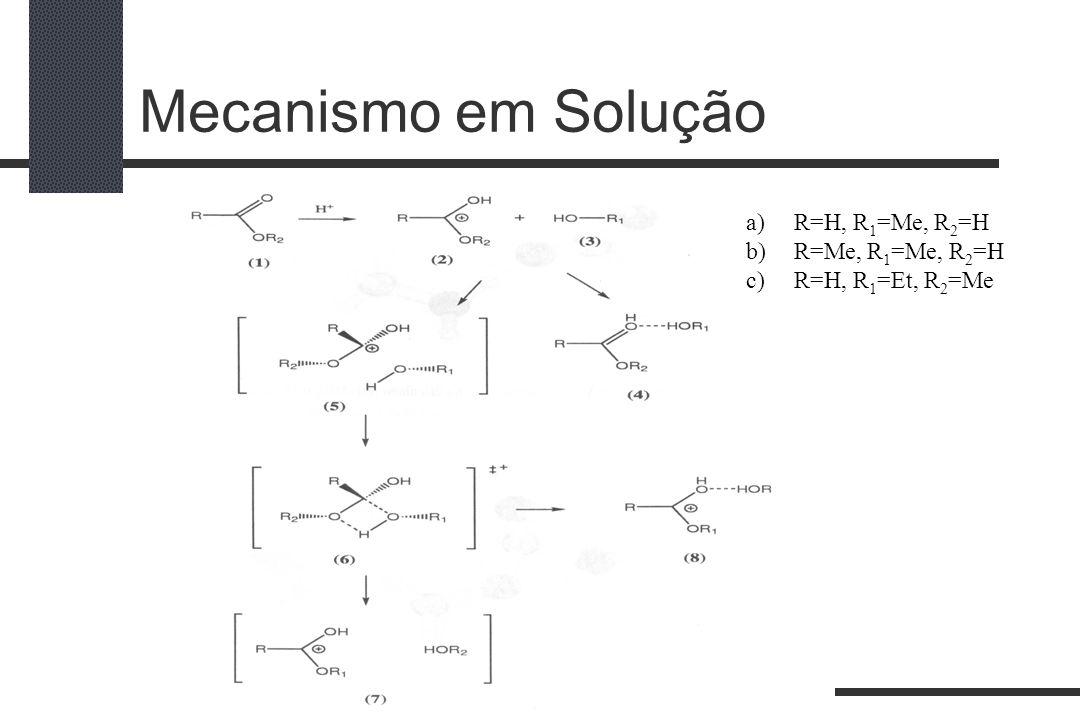 Mecanismo em Solução a)R=H, R 1 =Me, R 2 =H b)R=Me, R 1 =Me, R 2 =H c)R=H, R 1 =Et, R 2 =Me