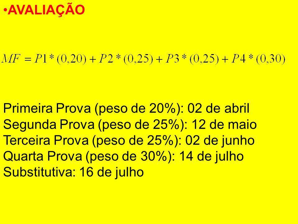 AVALIAÇÃO Primeira Prova (peso de 20%): 02 de abril Segunda Prova (peso de 25%): 12 de maio Terceira Prova (peso de 25%): 02 de junho Quarta Prova (pe