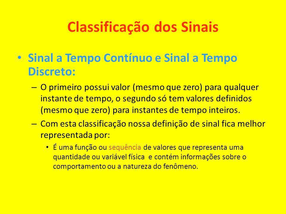 Classificação dos Sinais Sinal a Tempo Contínuo e Sinal a Tempo Discreto: – O primeiro possui valor (mesmo que zero) para qualquer instante de tempo,