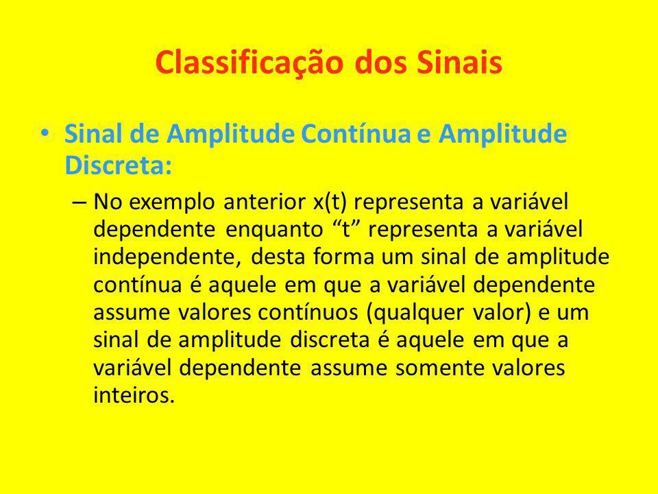Classificação dos Sinais Sinal de Amplitude Contínua e Amplitude Discreta: – No exemplo anterior x(t) representa a variável dependente enquanto t repr