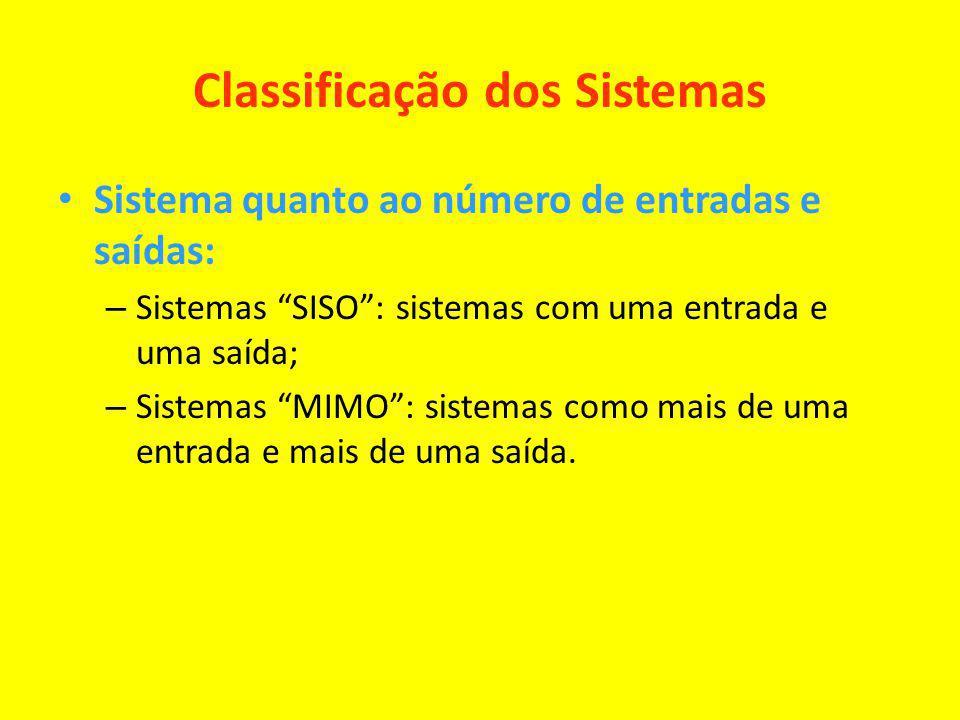 Classificação dos Sistemas Sistema quanto ao número de entradas e saídas: – Sistemas SISO: sistemas com uma entrada e uma saída; – Sistemas MIMO: sist