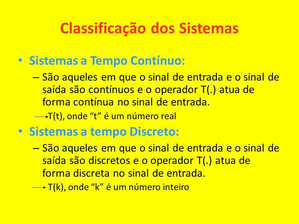 Classificação dos Sistemas Sistemas a Tempo Contínuo: – São aqueles em que o sinal de entrada e o sinal de saída são contínuos e o operador T(.) atua