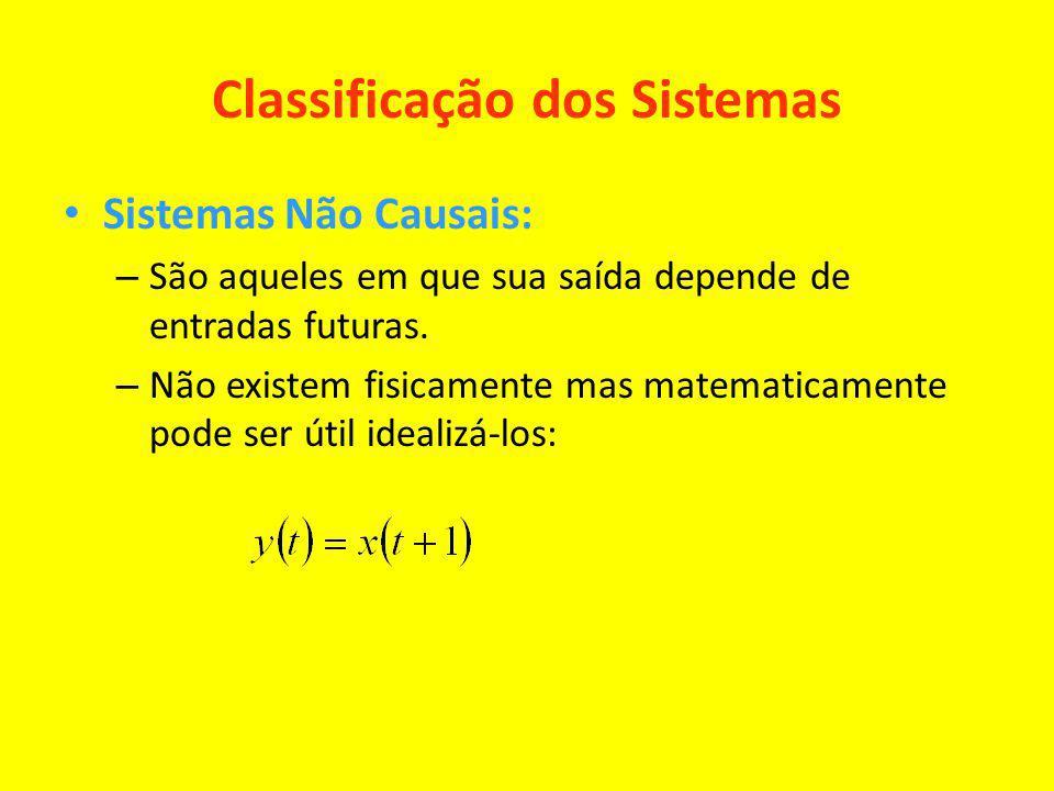 Classificação dos Sistemas Sistemas Não Causais: – São aqueles em que sua saída depende de entradas futuras. – Não existem fisicamente mas matematicam