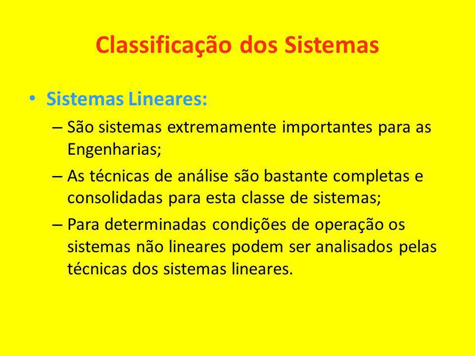 Classificação dos Sistemas Sistemas Lineares: – São sistemas extremamente importantes para as Engenharias; – As técnicas de análise são bastante compl