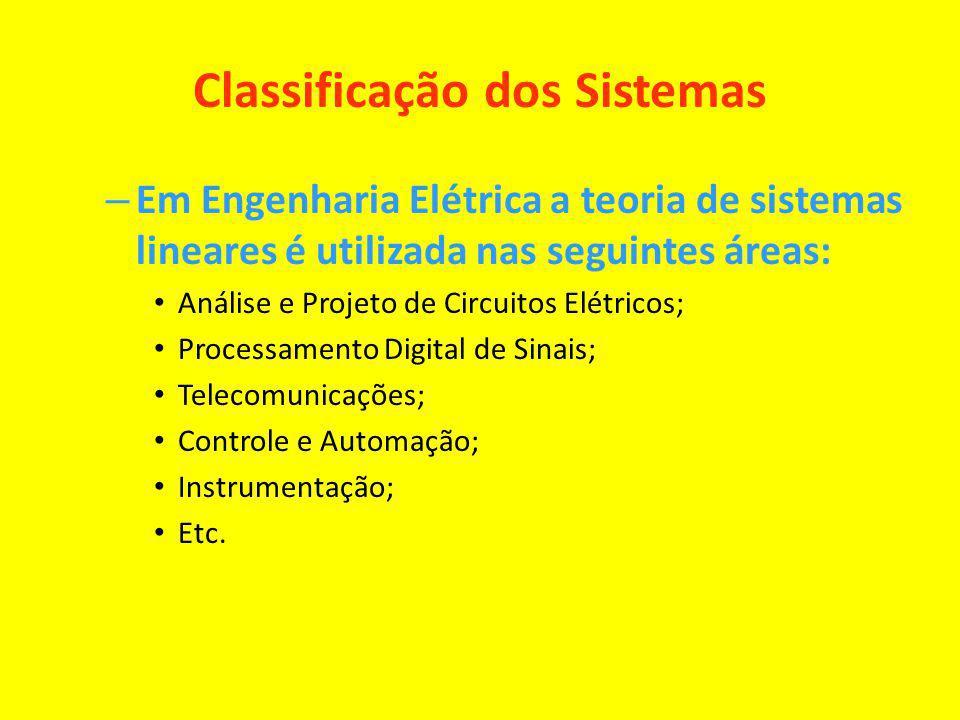 Classificação dos Sistemas – Em Engenharia Elétrica a teoria de sistemas lineares é utilizada nas seguintes áreas: Análise e Projeto de Circuitos Elét