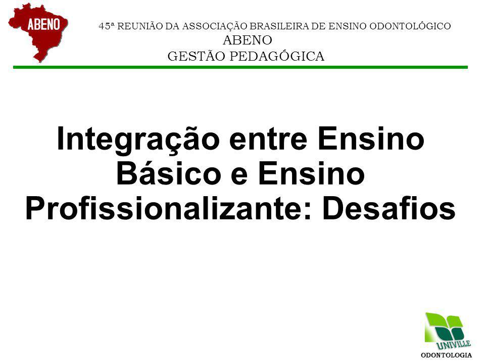 ODONTOLOGIA 45ª REUNIÃO DA ASSOCIAÇÃO BRASILEIRA DE ENSINO ODONTOLÓGICO ABENO GESTÃO PEDAGÓGICA OBRIGADO odonto@univille.br luiz.carlos@univille.br