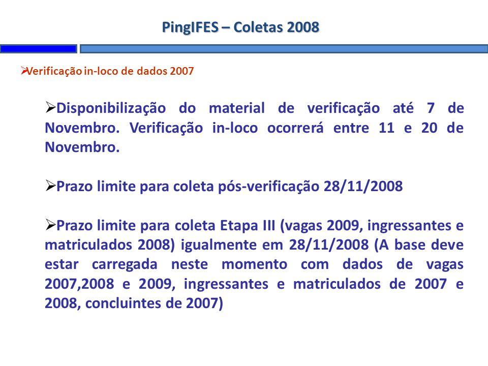 PingIFES – Coletas 2008 Verificação in-loco de dados 2007 Disponibilização do material de verificação até 7 de Novembro. Verificação in-loco ocorrerá