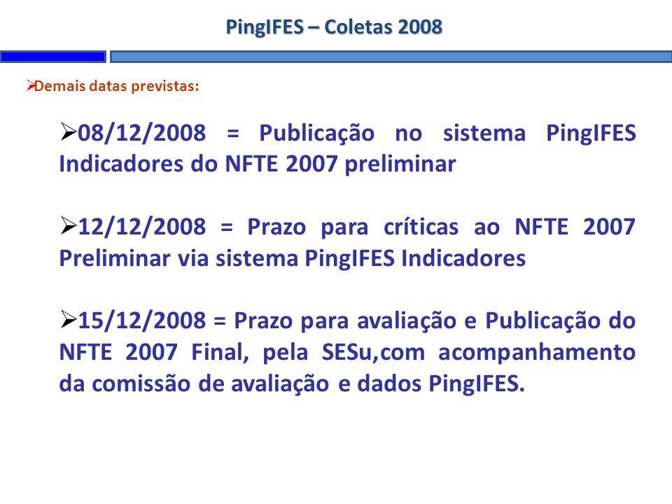 PingIFES – Coletas 2008 Demais datas previstas: 08/12/2008 = Publicação no sistema PingIFES Indicadores do NFTE 2007 preliminar 12/12/2008 = Prazo para críticas ao NFTE 2007 Preliminar via sistema PingIFES Indicadores 15/12/2008 = Prazo para avaliação e Publicação do NFTE 2007 Final, pela SESu,com acompanhamento da comissão de avaliação e dados PingIFES.
