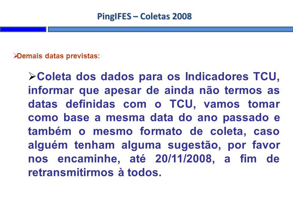 Demais datas previstas: Coleta dos dados para os Indicadores TCU, informar que apesar de ainda não termos as datas definidas com o TCU, vamos tomar co