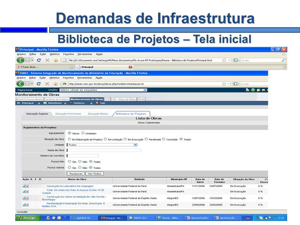 Biblioteca de Projetos – Tela inicial Demandas de Infraestrutura