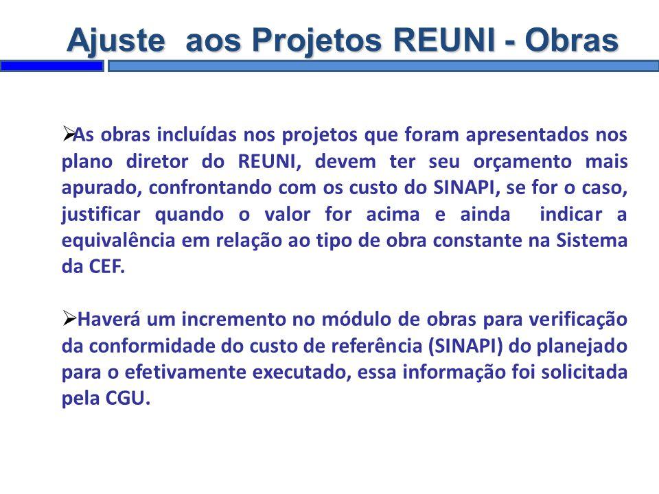 As obras incluídas nos projetos que foram apresentados nos plano diretor do REUNI, devem ter seu orçamento mais apurado, confrontando com os custo do
