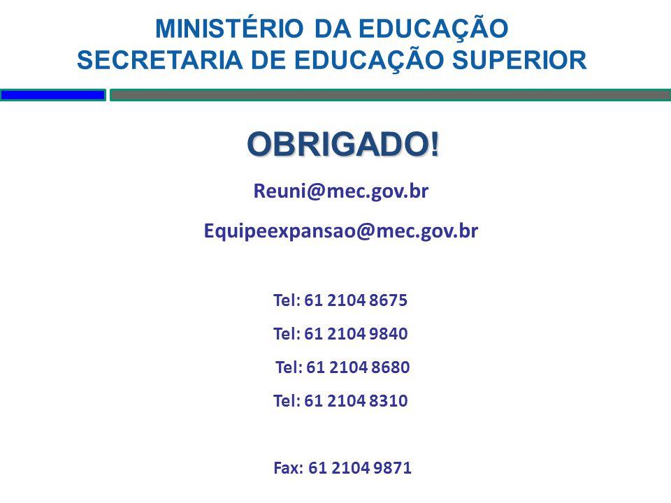 OBRIGADO! Reuni@mec.gov.br Equipeexpansao@mec.gov.br Tel: 61 2104 8675 Tel: 61 2104 9840 Tel: 61 2104 8680 Tel: 61 2104 8310 Fax: 61 2104 9871 MINISTÉ
