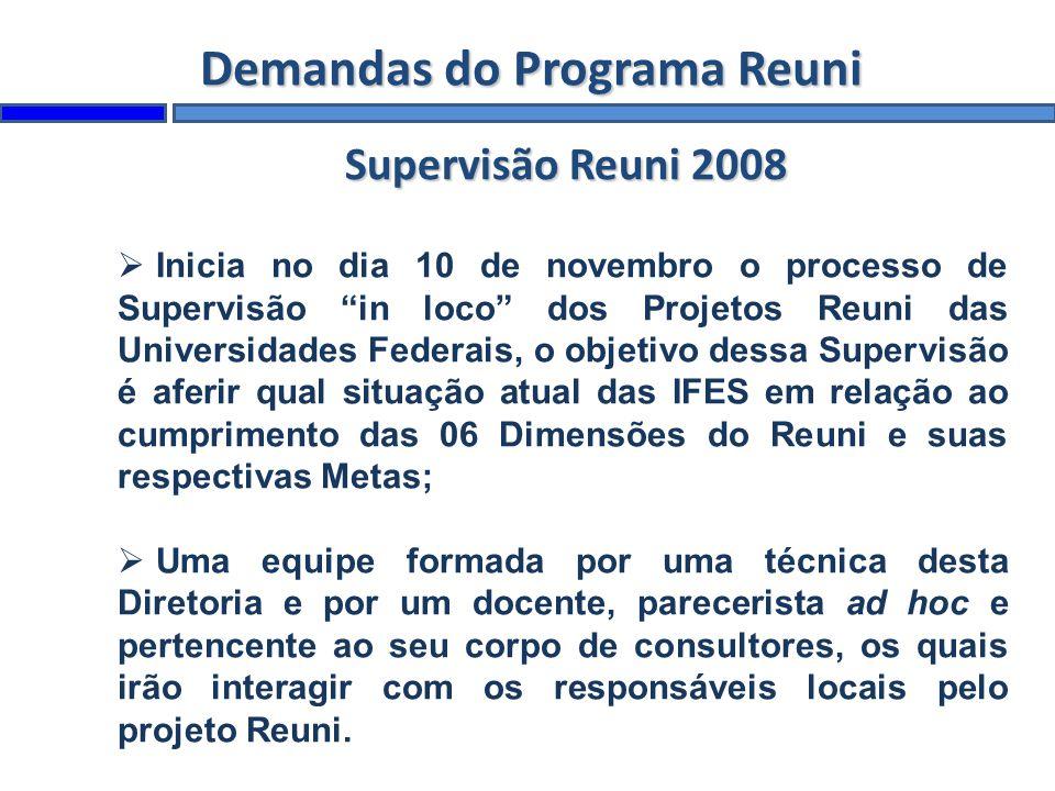 Demandas do Programa Reuni Inicia no dia 10 de novembro o processo de Supervisão in loco dos Projetos Reuni das Universidades Federais, o objetivo des