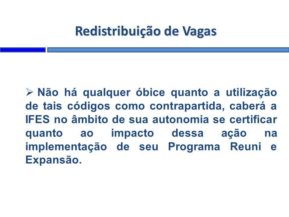 Redistribuição de Vagas Não há qualquer óbice quanto a utilização de tais códigos como contrapartida, caberá a IFES no âmbito de sua autonomia se certificar quanto ao impacto dessa ação na implementação de seu Programa Reuni e Expansão.