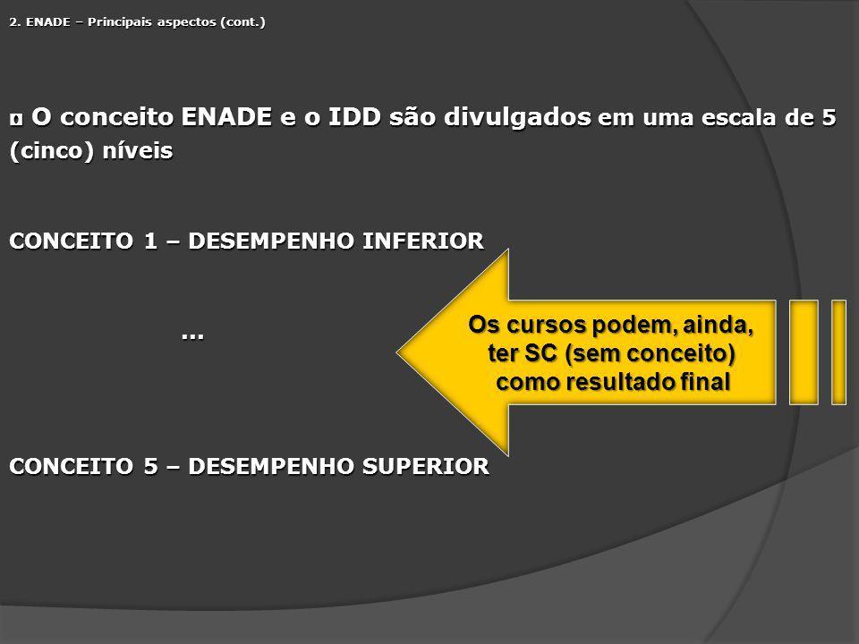 2. ENADE – Principais aspectos (cont.) O conceito ENADE e o IDD são divulgados em uma escala de 5 (cinco) níveis O conceito ENADE e o IDD são divulgad