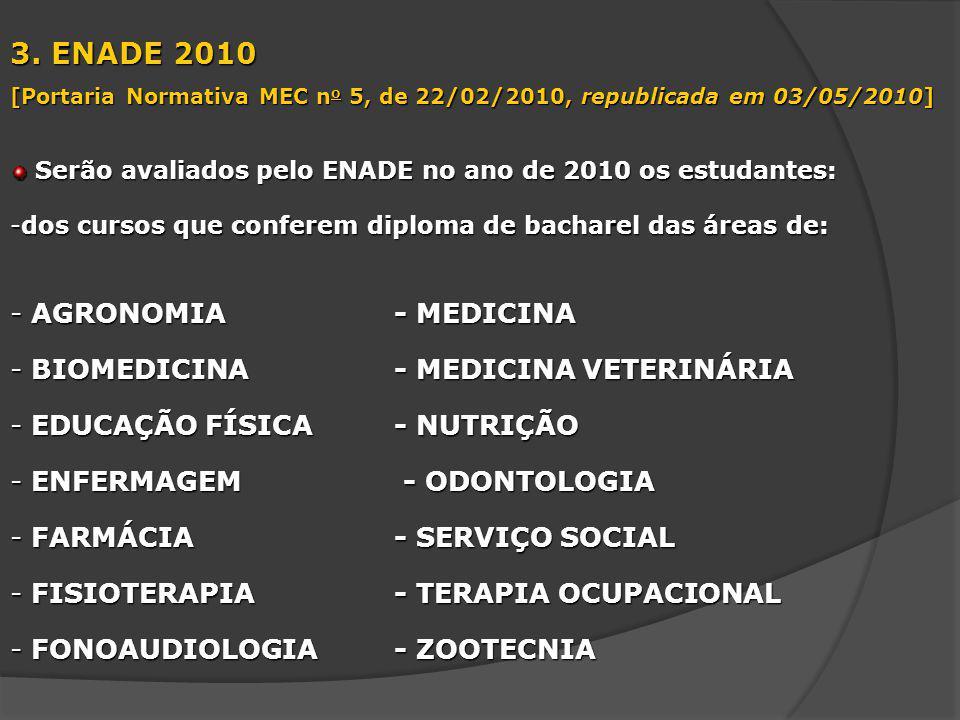 3. ENADE 2010 [Portaria Normativa MEC n o 5, de 22/02/2010, republicada em 03/05/2010] Serão avaliados pelo ENADE no ano de 2010 os estudantes: Serão