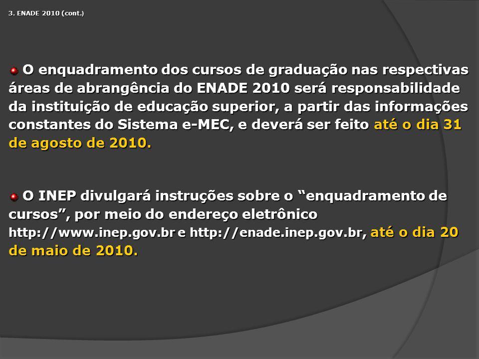 3. ENADE 2010 (cont. ) O enquadramento dos cursos de graduação nas respectivas áreas de abrangência do ENADE 2010 será responsabilidade da instituição