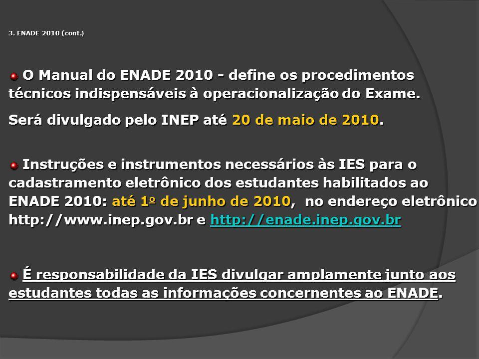 3. ENADE 2010 (cont. ) O Manual do ENADE 2010 - define os procedimentos técnicos indispensáveis à operacionalização do Exame. O Manual do ENADE 2010 -