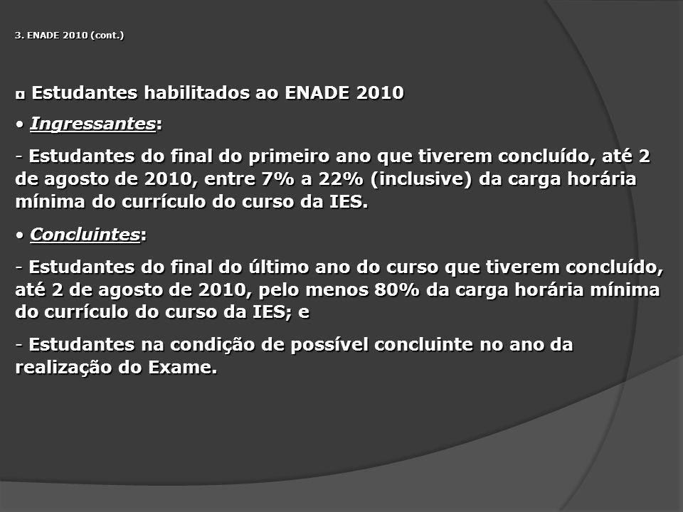 3. ENADE 2010 (cont.) Estudantes habilitados ao ENADE 2010 Estudantes habilitados ao ENADE 2010 Ingressantes: Ingressantes: - Estudantes do final do p