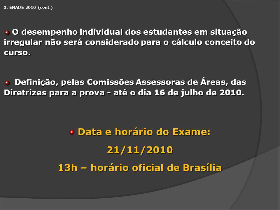 3. ENADE 2010 (cont.) O desempenho individual dos estudantes em situação irregular não será considerado para o cálculo conceito do curso. O desempenho