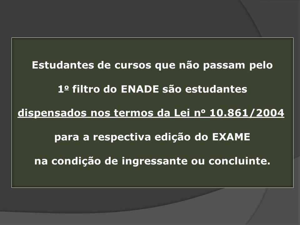 Estudantes de cursos que não passam pelo 1 o filtro do ENADE são estudantes dispensados nos termos da Lei n o 10.861/2004 para a respectiva edição do