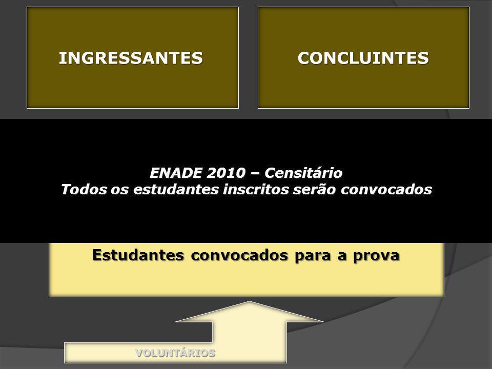 INGRESSANTESCONCLUINTES 4 o filtro – amostra (previsão legal) Determina os estudantes que representarão a população Estudantes convocados para a prova