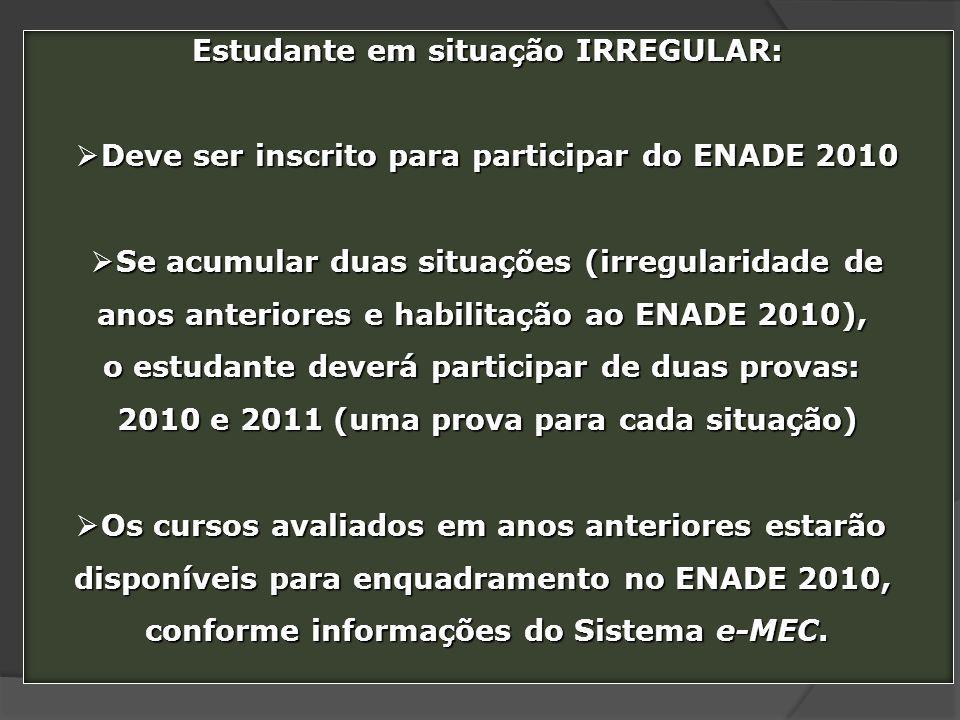 Estudante em situação IRREGULAR: Deve ser inscrito para participar do ENADE 2010 Deve ser inscrito para participar do ENADE 2010 Se acumular duas situ