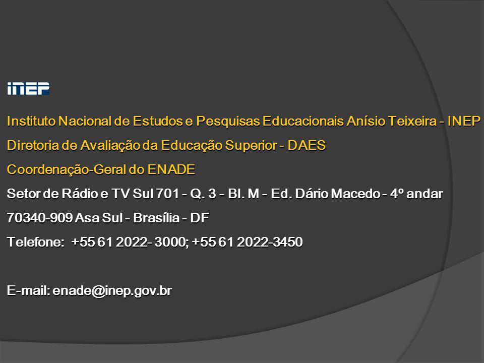 Instituto Nacional de Estudos e Pesquisas Educacionais Anísio Teixeira - INEP Diretoria de Avaliação da Educação Superior - DAES Coordenação-Geral do
