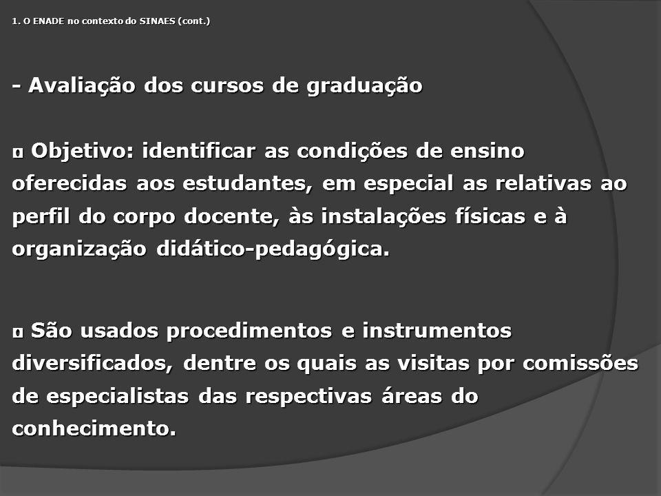 1. O ENADE no contexto do SINAES (cont.) - Avaliação dos cursos de graduação Objetivo: identificar as condições de ensino oferecidas aos estudantes, e