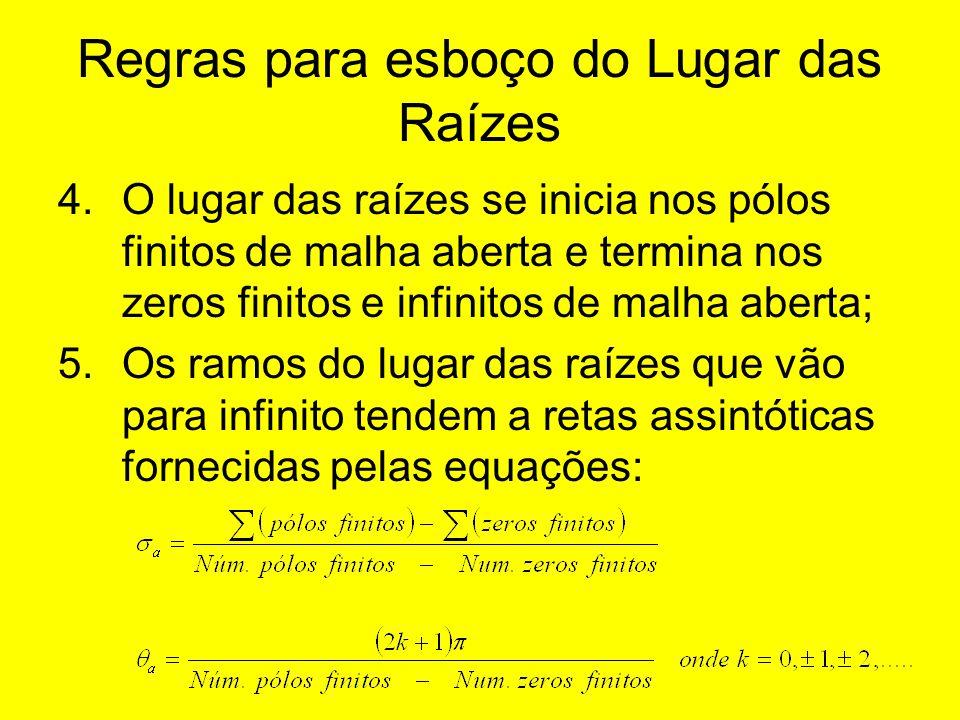 Regras para esboço do Lugar das Raízes 4.O lugar das raízes se inicia nos pólos finitos de malha aberta e termina nos zeros finitos e infinitos de mal