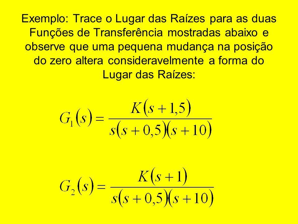Exemplo: Trace o Lugar das Raízes para as duas Funções de Transferência mostradas abaixo e observe que uma pequena mudança na posição do zero altera c