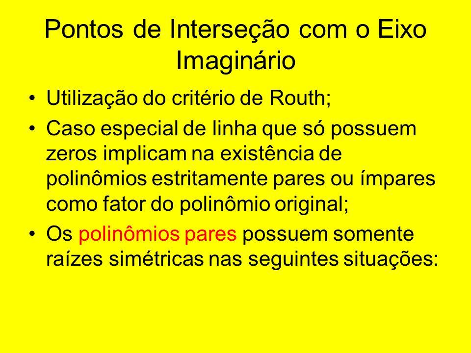Pontos de Interseção com o Eixo Imaginário Utilização do critério de Routh; Caso especial de linha que só possuem zeros implicam na existência de poli