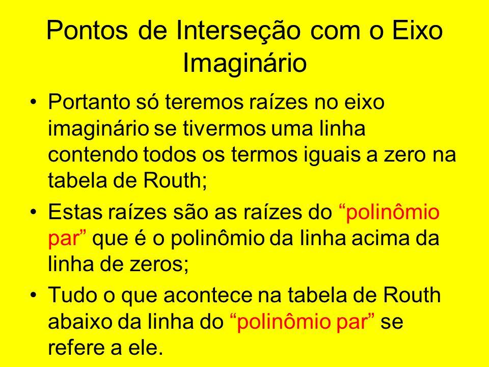 Pontos de Interseção com o Eixo Imaginário Portanto só teremos raízes no eixo imaginário se tivermos uma linha contendo todos os termos iguais a zero