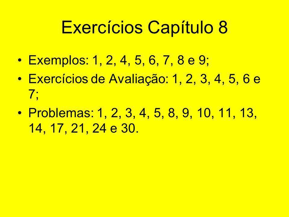 Exercícios Capítulo 8 Exemplos: 1, 2, 4, 5, 6, 7, 8 e 9; Exercícios de Avaliação: 1, 2, 3, 4, 5, 6 e 7; Problemas: 1, 2, 3, 4, 5, 8, 9, 10, 11, 13, 14