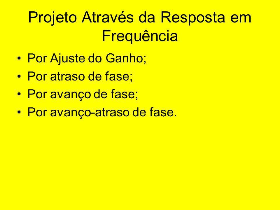 Projeto Através da Resposta em Frequência Por Ajuste do Ganho; Por atraso de fase; Por avanço de fase; Por avanço-atraso de fase.