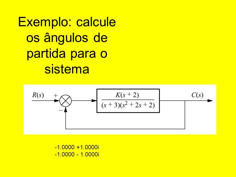 Exemplo: calcule os ângulos de partida para o sistema -1.0000 +1.0000i -1.0000 - 1.0000i